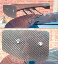 Slotted Carbon Fibre Wing End Plates -  225mm Chord, Pair