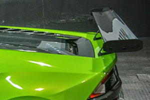 Lamborghini Huracan (2014 - ) 225mm Chord Carbon Fibre Rear Wing Kit (Straight) -  Clear Coated with Alloy Wing Mounts