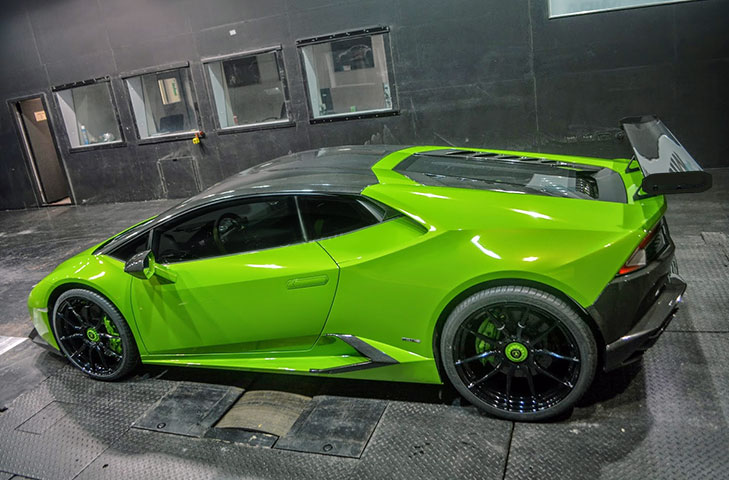 Lamborghini Huracan (2014 - ) 225mm Chord Carbon Fibre Rear Wing Kit, clear coated with Alloy Wing Mounts - R01SB0459