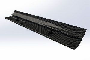 Reverie 225mm + 150 Chord Dual Element Top-Mounted Carbon Fibre Rear Wing (Straight)
