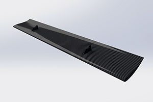 Reverie 310mm Chord Low Drag Top-Mounted Carbon Fibre Rear Wing - Straight