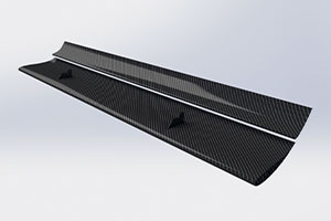 Reverie 310mm +150mm Chord Low Drag Top-Mounted Dual Element Carbon Fibre Rear Wing