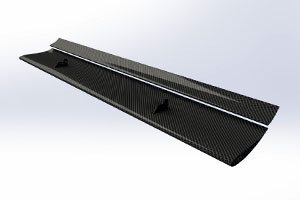 Universal High-Downforce Dual-Element Carbon Rear Wing (Straight) - 310/110mm Chord, Adjustable