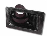 177x95mm rectangluar intake bumper duct / brake duct  with 75/100mm stepped 20' offset exit, carbon