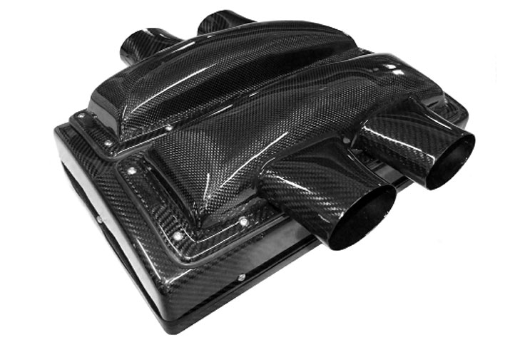 Hockenheim 405 V6/V8/flat 6 air box, carbon, 405l*305h*200d mm,hockenheim 405 twin top cowl with 2 75mm snorkels each side, panel filtered entry air box kit (405l*305h*200d mm), carbon - R01SE0480