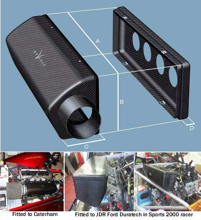 Interlagos 425 carbon air box RH 100mm entry,  4 cyl, 425l*140h*112d mm, approx 0.69 mm thick, (base box) kit - R01SE0606