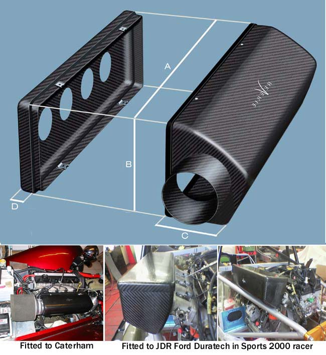 Interlagos 425 carbon air box LH 100mm entry, 4 cyl, 425l*140h*112d mm, approx 0.69 mm thick, (base box) kit - R01SE0607