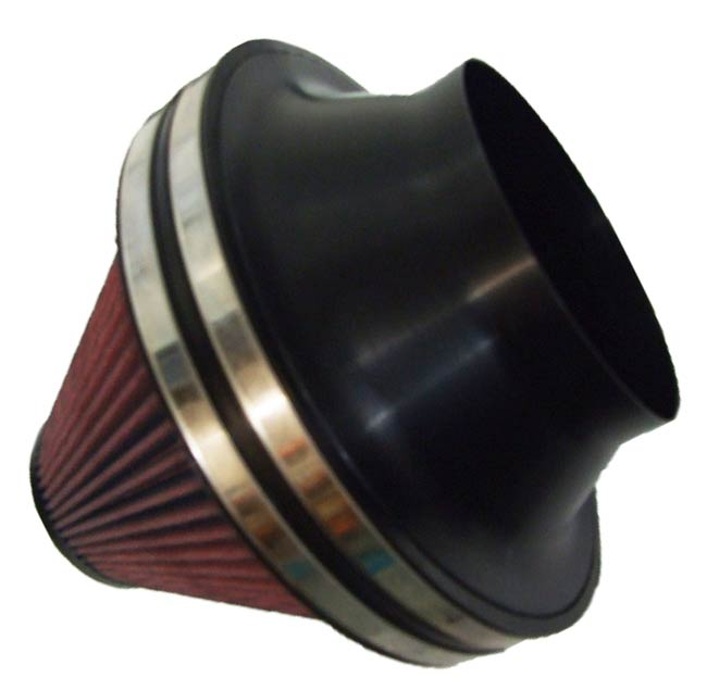Remote cone filter 206mm dia rubber neck with 206-127.5mm Anodized Alloy High Flow Filter Adapter. - R01SE0633