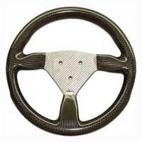 Flight 315 Carbon Steering Wheel - 3-Stud Drilled, Silver Centre
