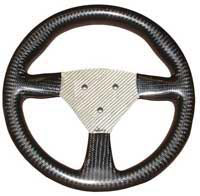 Flight 280 Carbon Steering Wheel - 3-Stud Drilled, Silver Centre