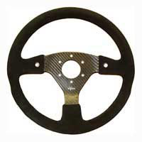 Rally 330 Carbon Steering Wheel - MOMO/Sparco/OMP Drilled, Alcantara Trimmed, 2 Button