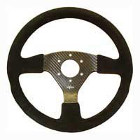 Rally 350 Carbon Steering Wheel - MOMO/Sparco/OMP Drilled, Alcantara Trimmed