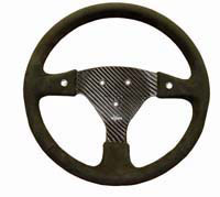 Rally 330 Carbon Steering Wheel - 3-Stud Drilled, Alcantara Trimmed, 2 Button