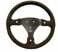 Rally 330 Carbon Steering Wheel - 3-Stud Drilled, Alcantara Trimmed, 3 Button