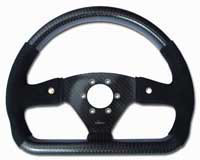 Rally 330 x 260 Carbon Flat-Bottomed Steering Wheel - Raid Drilled, Half Alcantara, 2 Button