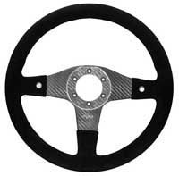 FQ350 Carbon Steering Wheel - MOMO/Sparco/OMP Drilled, Alcantara, 2 Button