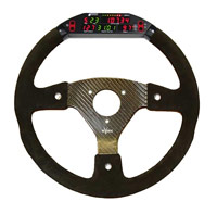 Rally 330 Carbon Steering Wheel - 3-Stud Drilled, Alcantara Trimmed, 3 Button, Farringdon Display