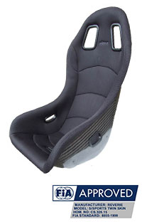 Reverie Super Sports B Carbon Fibre Seat - Single Skin, Black Fabric Trimmed, FIA Approved