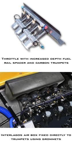 Four Cylinder Throttle body with Increased Depth Fuel Rail Spacer and Carbon Trumpets